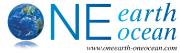 Logo von One Earth One Ocean - blaue Erdkugel mit Schriftzug